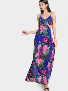 Smocked Bust Side Cutout Floral Cami Dress