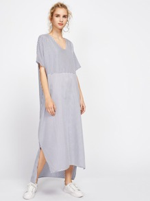 Stripe Side Split Dip Hem Smock Dress