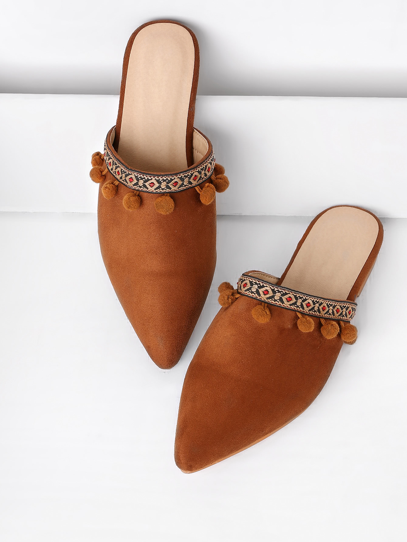Pom Pom Detail Point Toe Flat Slippers