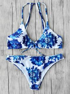 Graphic Print Strappy Back Bikini Set