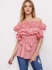 Self Tie Exaggerated Frill Bardot Neck Gingham Top