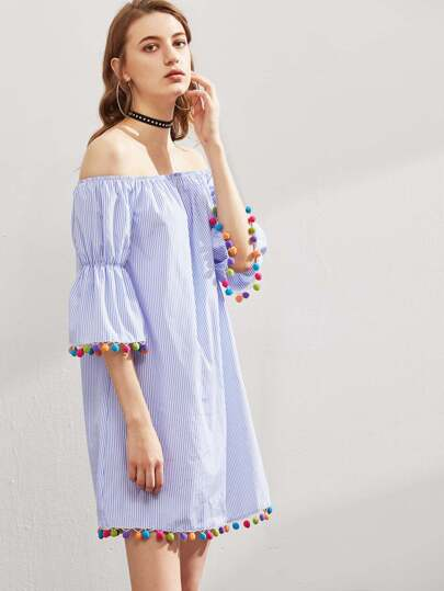 Elasticized Bell Sleeve Pom Pom Trim Striped Dress pictures