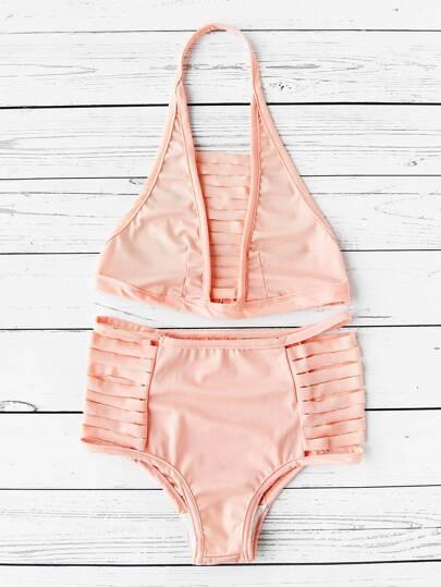 Buy Ladder Cutout High Waist Halter Bikini Set swimwear170608324