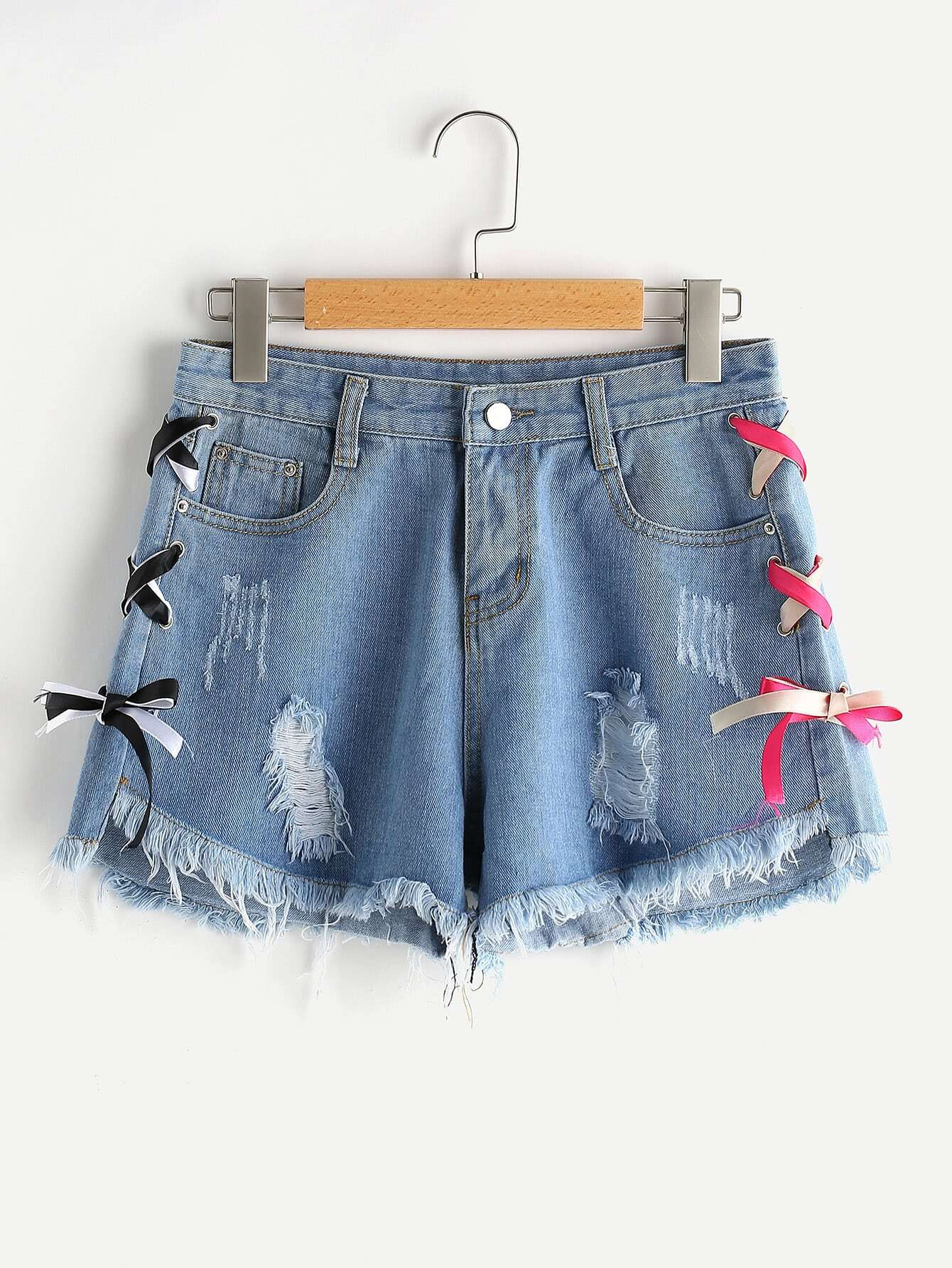 Destroyed Fray Hem Lace Up Side Denim Shorts