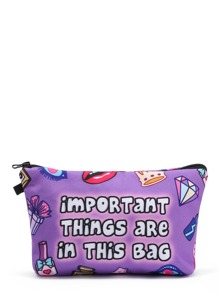 Cartoon Print Cosmetic Pouch