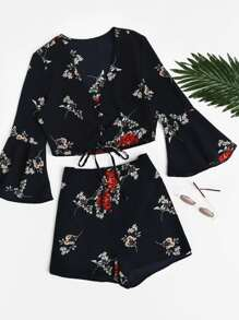 Bell Sleeve Lace Up Top With Shorts