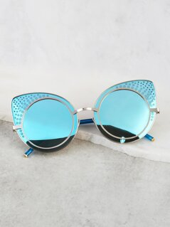 Reflective Circular Cat Eye Sunnies AQUA
