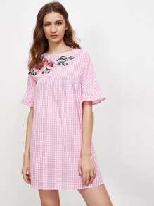 Embroidered Flower Applique Fluted Sleeve Gingham Smock Dress