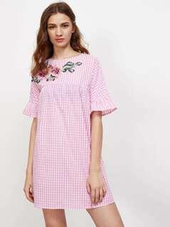 Embroidered Flower Applique Fluted Sleeve Gingham Smock Dress