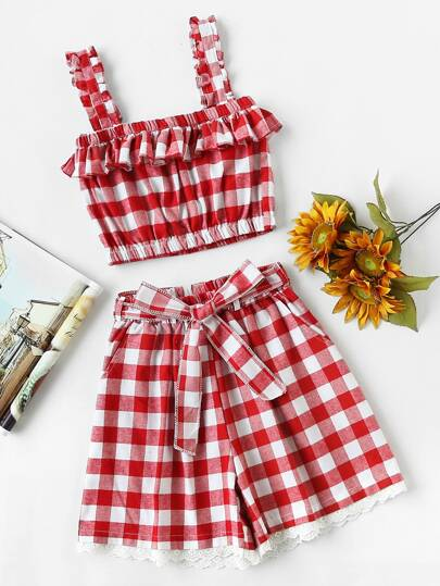 Checked Frill Crop Cami Top With Lace Hem Belt Shorts