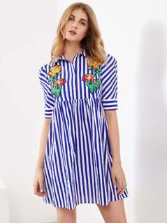 Flower Embroidered Half Placket Smock Dress