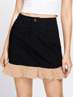 Gingham Ruffle Trim Zip Fly Skirt