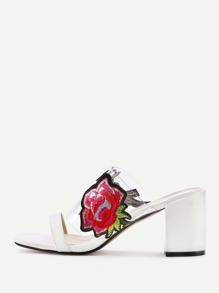 Flower Applique High Heeled Mules