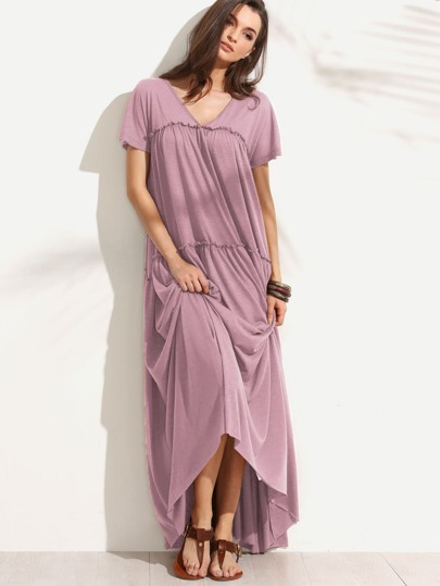 Double V Neck Frilled Tent Dress