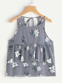 Camisole mit Streifen, Blumen, Falten und Gürtel hinten