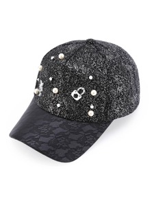 Faux Pearl And Studded Detail Baseball Cap