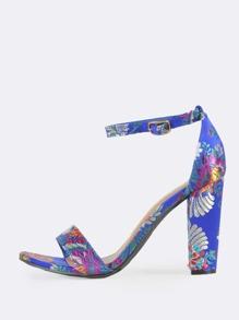 Ankle Strap Floral Stitched Heels BLUE