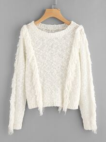 Fringe Trim Loose Knit Dot Yarn Jumper