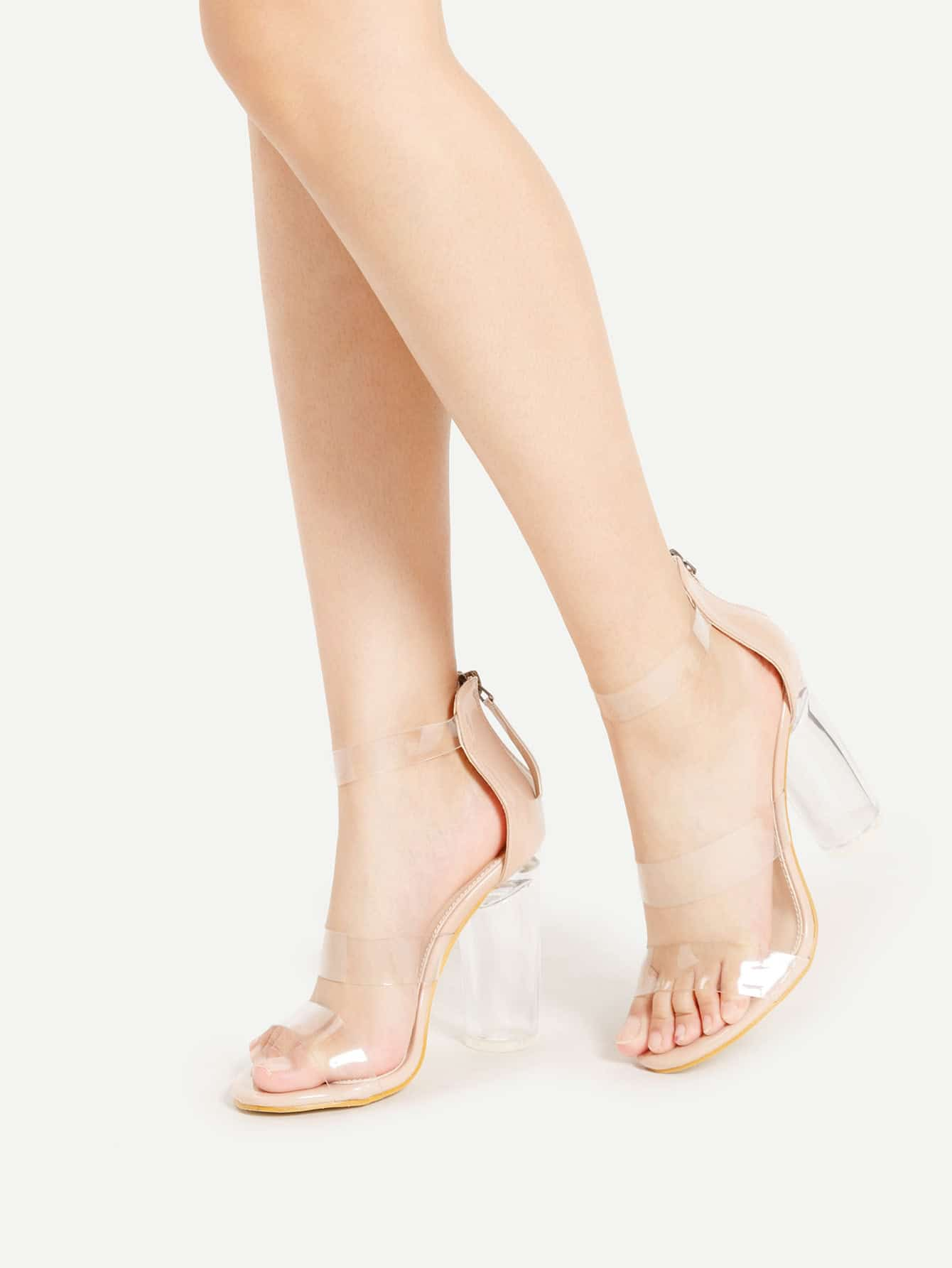 Clear Strap Zipper Back Block Heeled Sandals