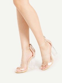 Sandalias de tacón cuadrado de correa transparente