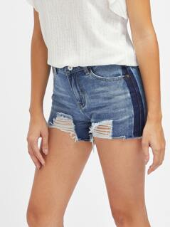 Color Block Ripped Raw Hem Denim Shorts