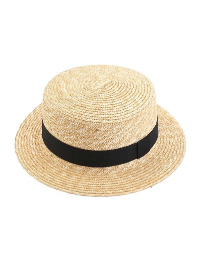 Contrast Band Straw Boater Hat