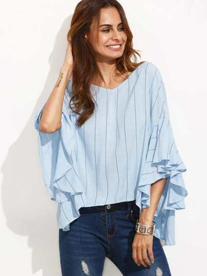 Ruffle Batwing Sleeve Tie Back Blouse