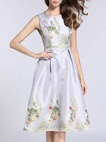 Flowers Jacquard Pleated A-Line Dress