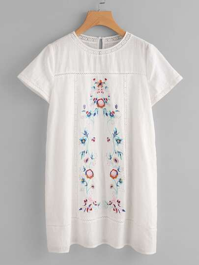 Lace Insert Symmetric Embroidered Dress