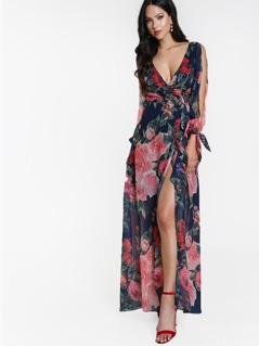 Surplice Front Open Back Split Sleeve Floral Dress