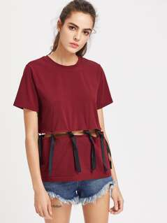Knot Ribbon Detail Peekaboo T-shirt