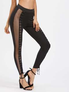 Contrast Mesh Eyelet Lace Up Leggings