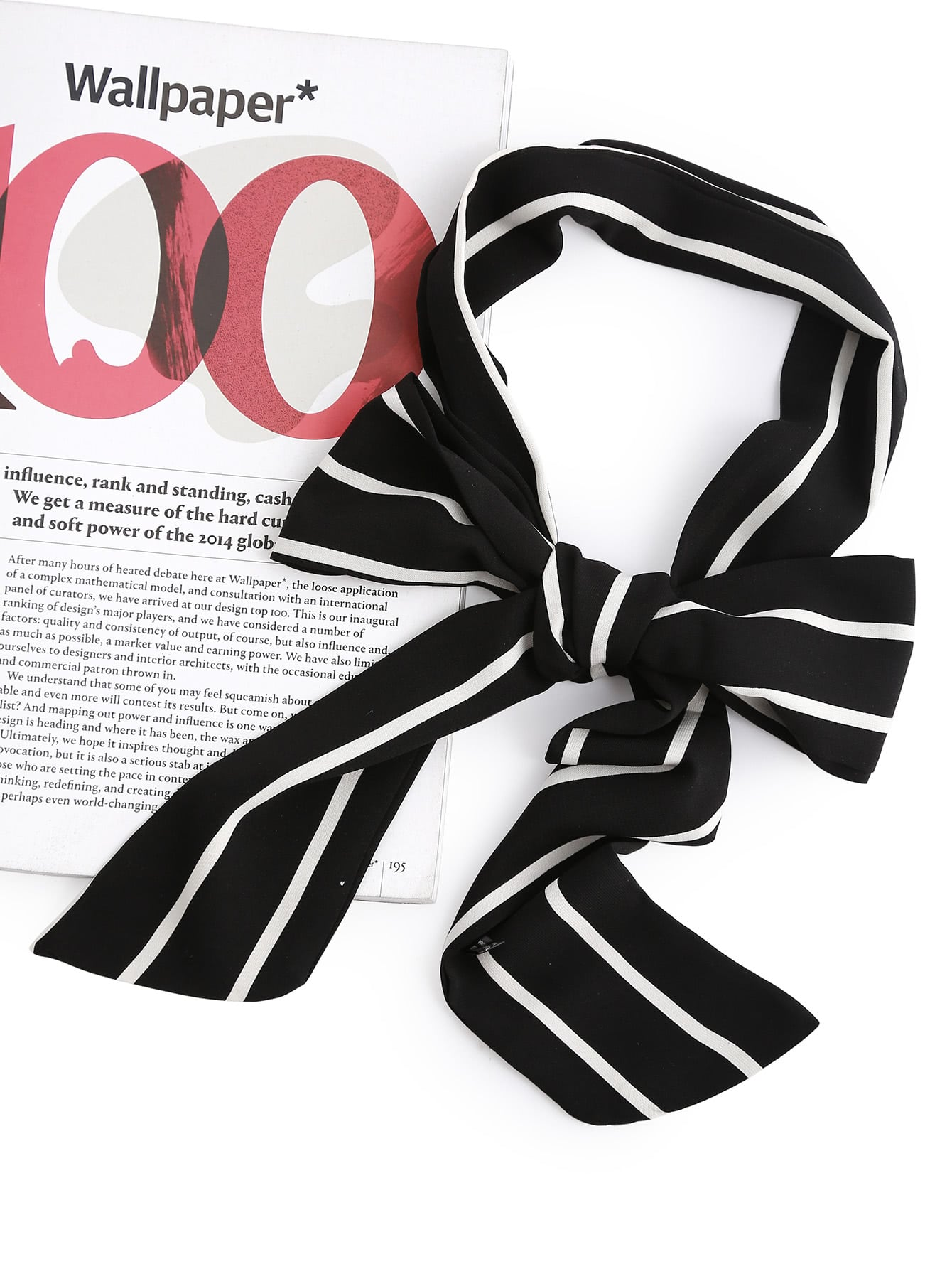 Striped Print Skinny Scarf