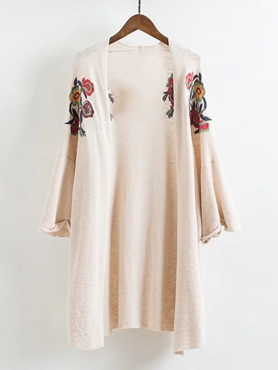 Open Front Embroidery Longline Cardigan