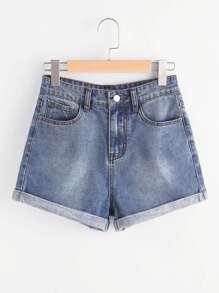 5 Pocket Cuffed Denim Shorts