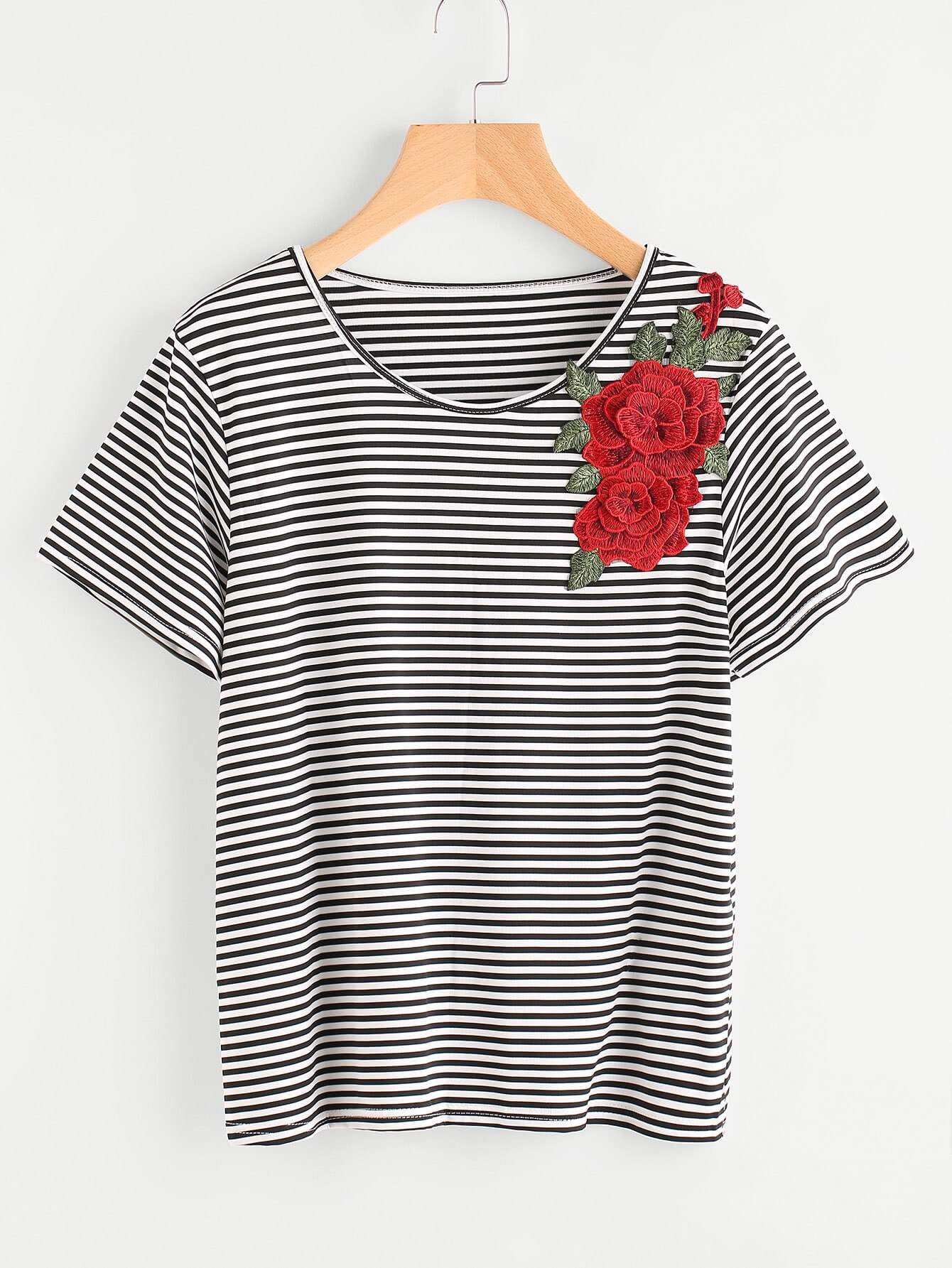 Фото 3D Embroidered Applique Striped T-shirt. Купить с доставкой