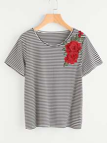 3D Embroidered Applique Striped T-shirt