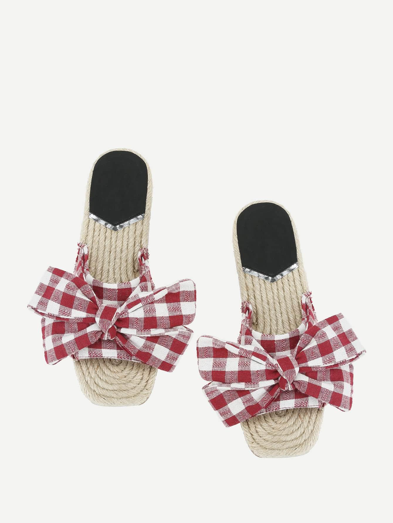 Фото Grid Bow Toe Design Sandals. Купить с доставкой