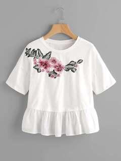 Flower Patch Ruffle Trim Mixed Media T-shirt