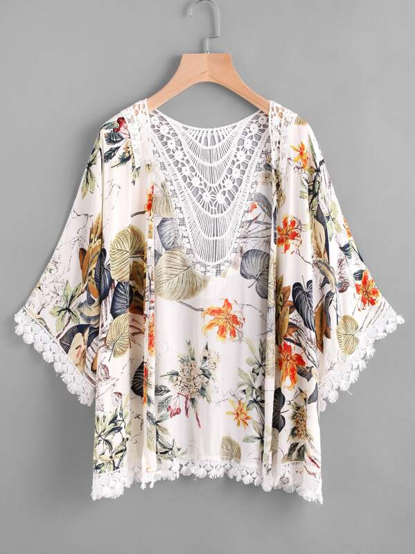 Tropical Print Contrast Hollow Out Crochet Trim Kimono, null