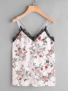 Contrast Lace Trim Flower Print Strappy Cami Top