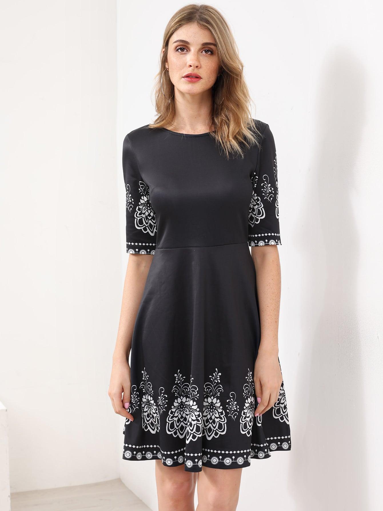 Фото Elbow Sleeve Fit And Flare Dress. Купить с доставкой