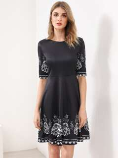 Elbow Sleeve Fit And Flare Dress