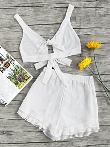 Split Knot Front Bow Tie Backless Pleat Crop Top With Shorts