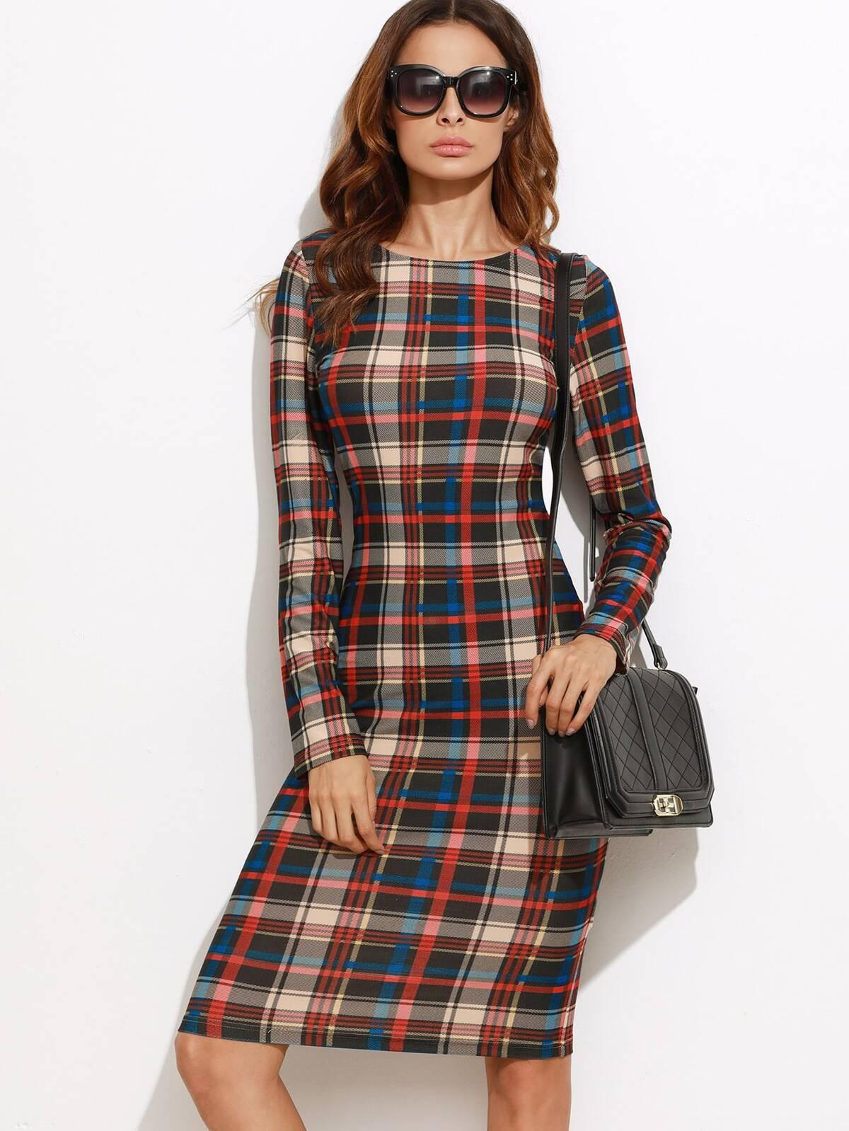 多色 蘇格蘭格紋 鉛筆 洋裝