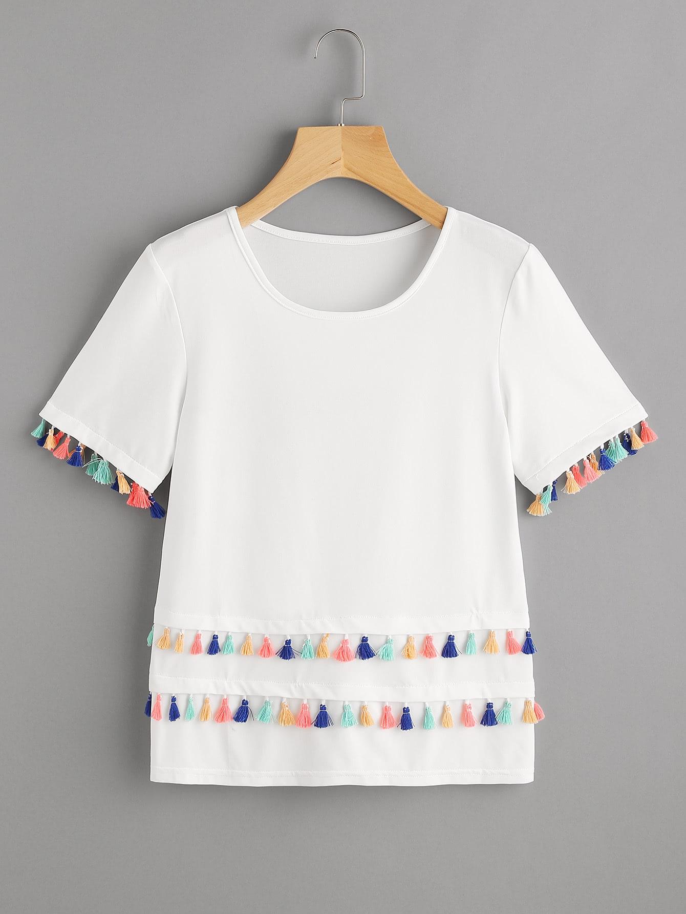 Фото Tiered Tassel Trim T-shirt. Купить с доставкой