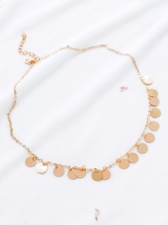 Gold Coin Fringe Statement Necklace