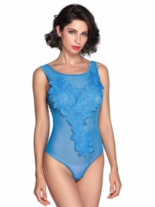 Flower Applique Sheer Mesh Teddy