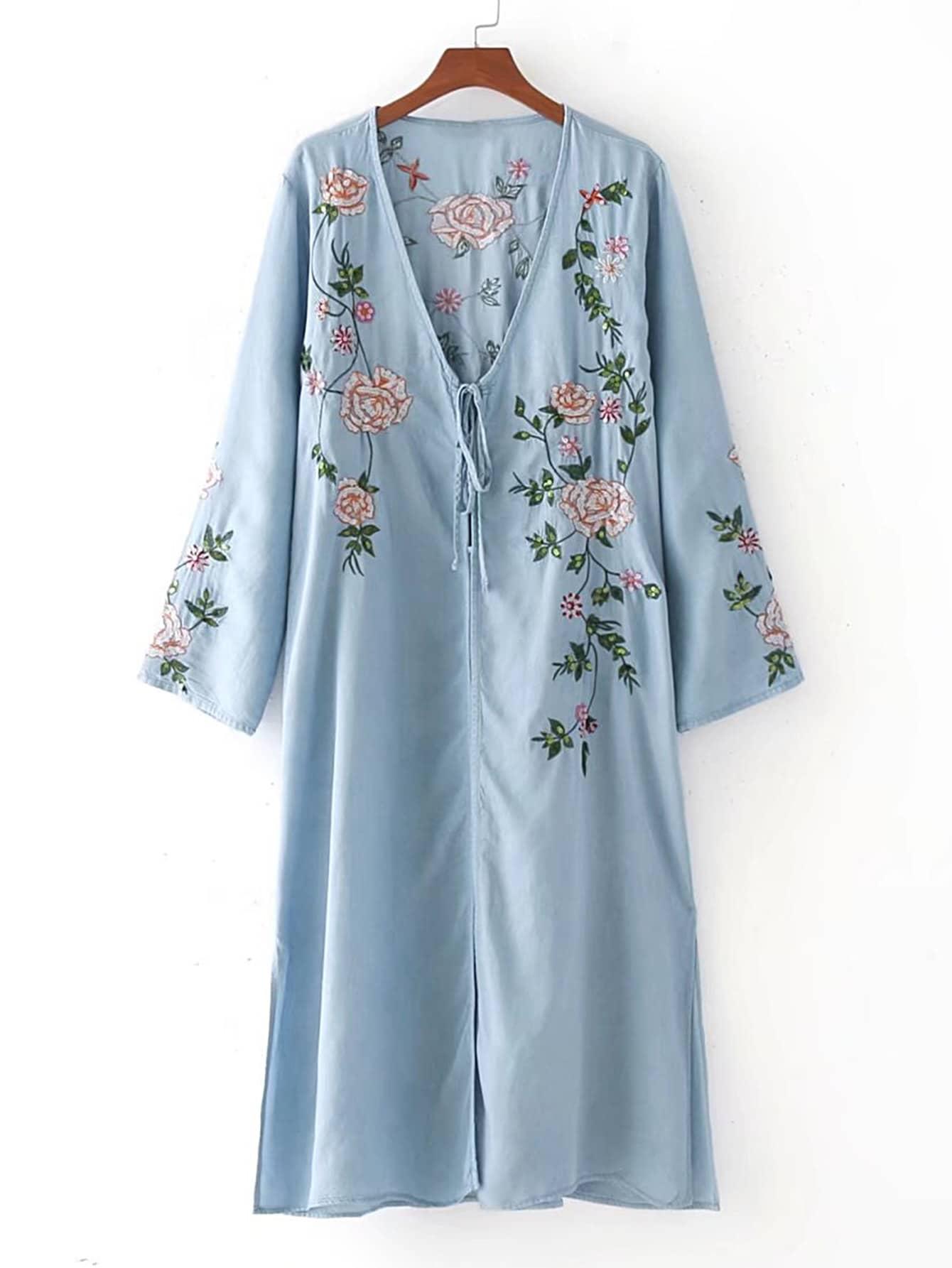 Flower embroidery lace up detail split dress shein sheinside