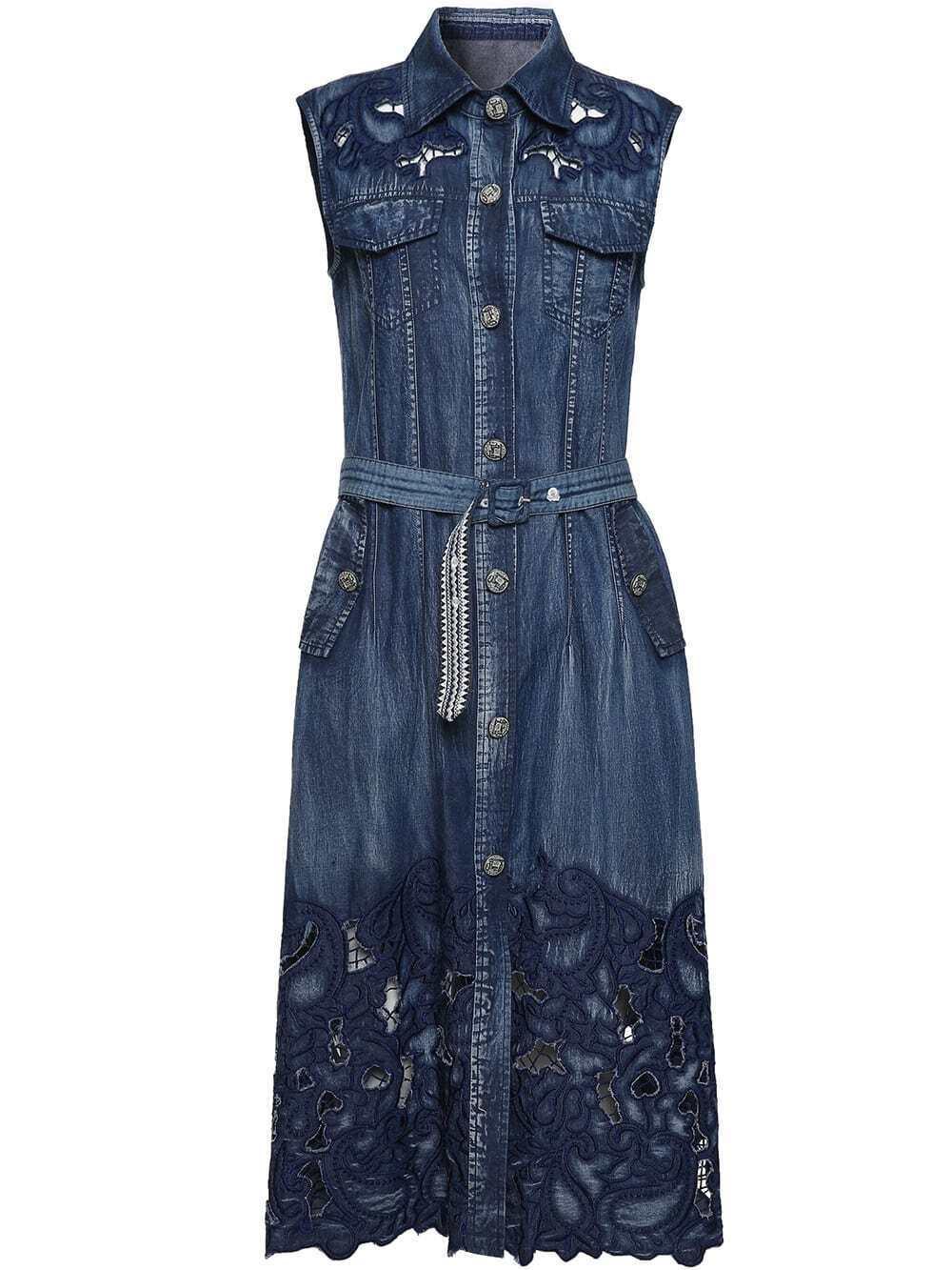 Фото Embroidered Hollow Belted Pockets Dress. Купить с доставкой